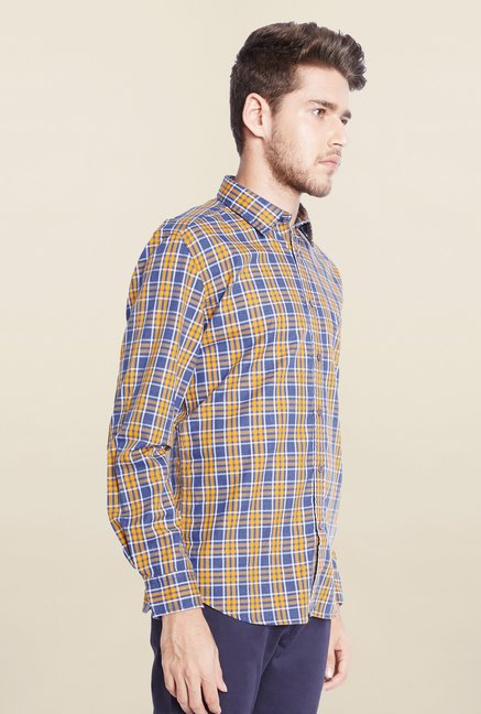 Parx Blue & Ochre Checks Shirt