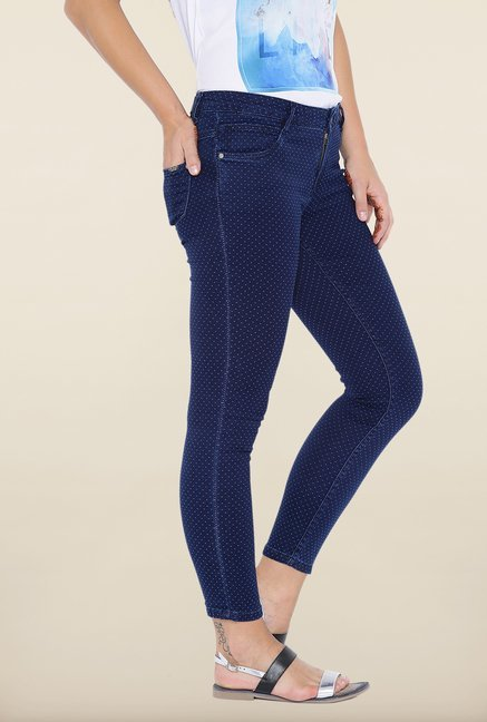 Kraus Dark Blue Spotted Skinny Fit Jeans