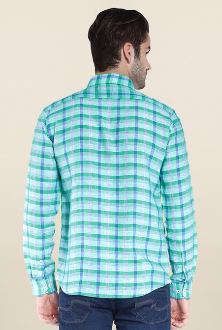Parx Green Checks Linen Shirt