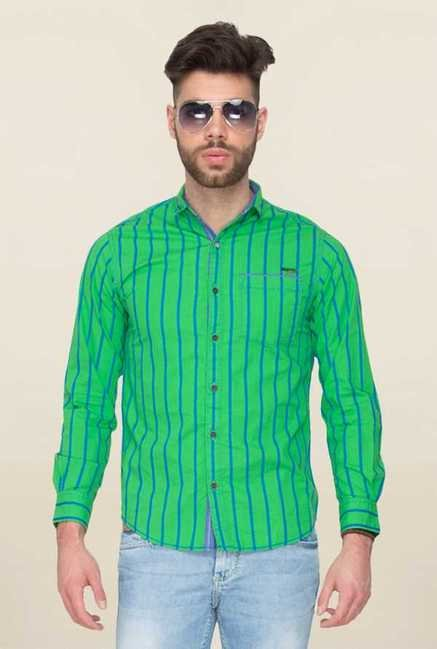 Mufti Green Striped Shirt