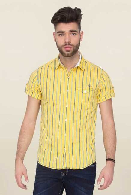 Mufti Yellow Striped Shirt