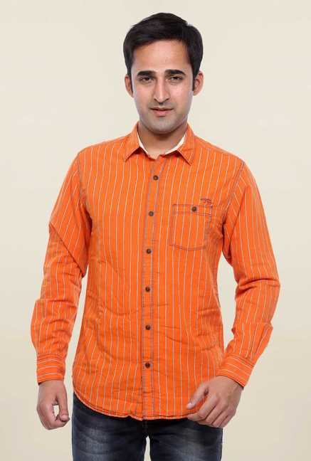 Mufti Orange Striped Slim Fit Shirt
