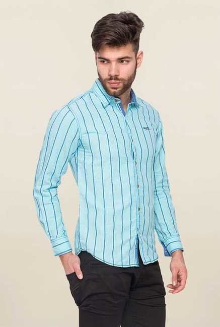 Mufti Sky Blue Striped Slim Fit Shirt