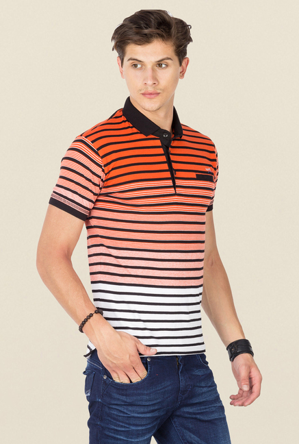 Mufti Orange Striped Polo T Shirt