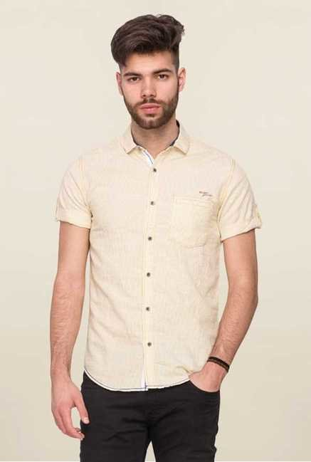Mufti Beige Slim Fit Shirt