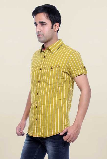Mufti Mustard Striped Shirt