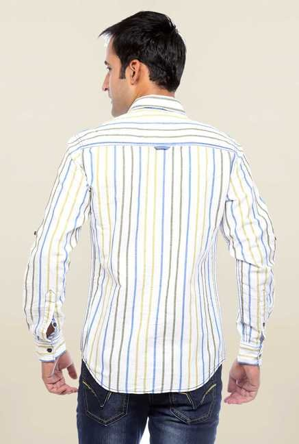 Mufti White Striped Cotton Shirt