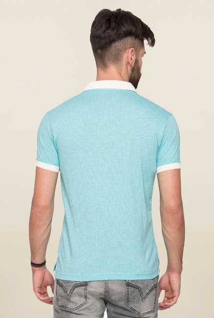 Mufti Sky Blue Printed Polo T Shirt
