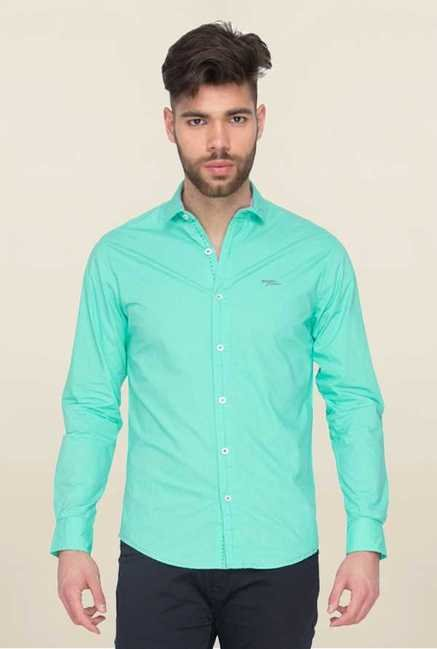 Mufti Turquoise Solid Shirt