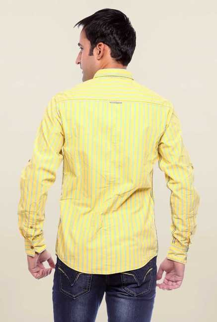 Mufti Yellow Striped Slim Fit Shirt