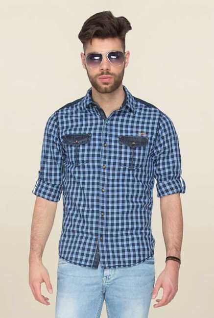Mufti Navy Checks Slim Fit Shirt