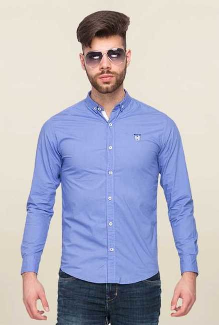 Mufti Purple Solid Slim Fit Shirt