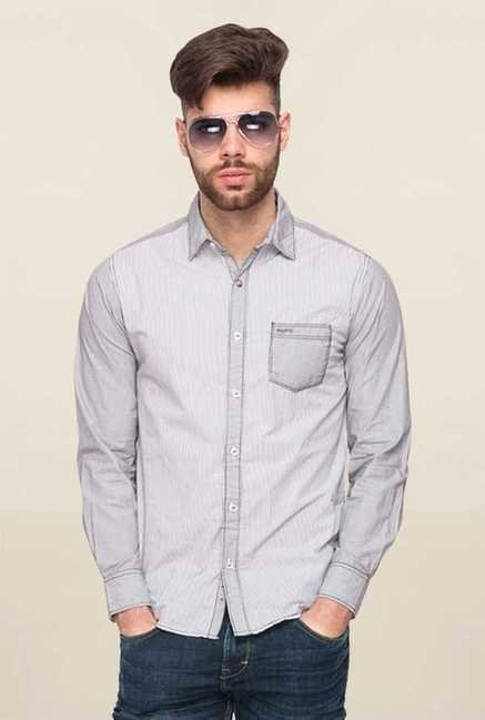 Mufti Grey Self Striped Shirt