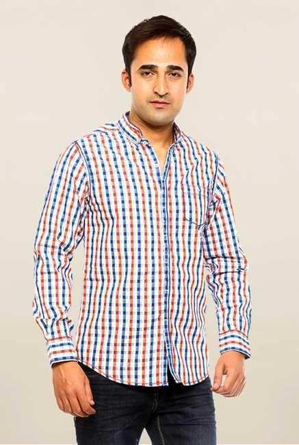 Mufti White Checks Slim Fit Shirt