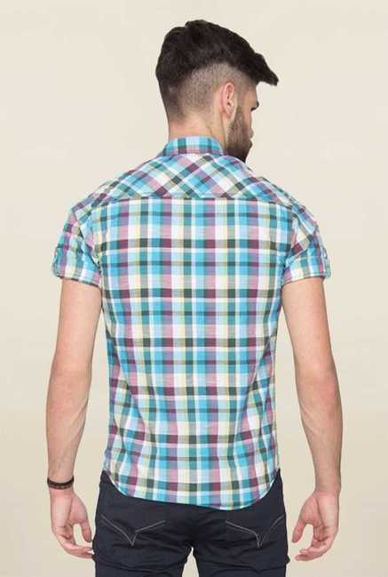 Mufti Turquoise Checks Shirt