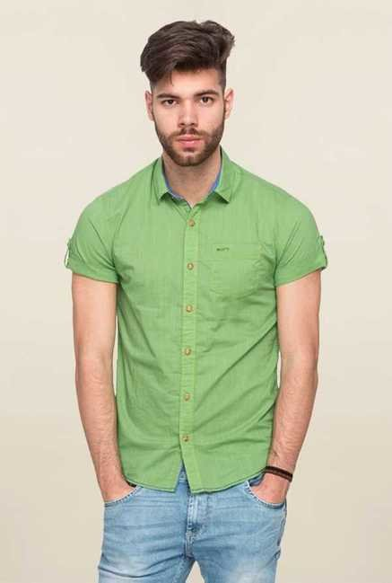 Mufti Green Solid Shirt
