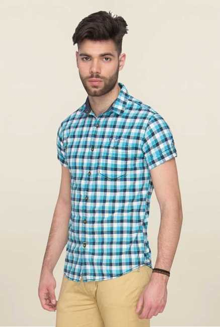 Mufti Turquoise Checks Half Sleeves Shirt