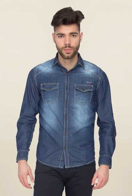 Mufti Denim Blue Solid Slim Fit Shirt