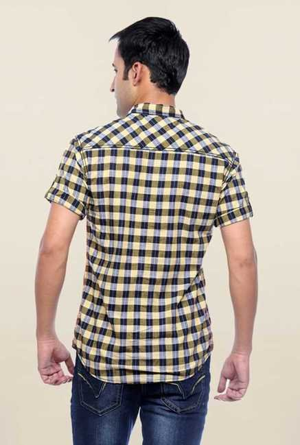 Mufti Yellow Checks Slim Fit Shirt
