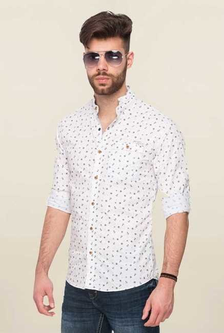 Mufti White Printed Shirt