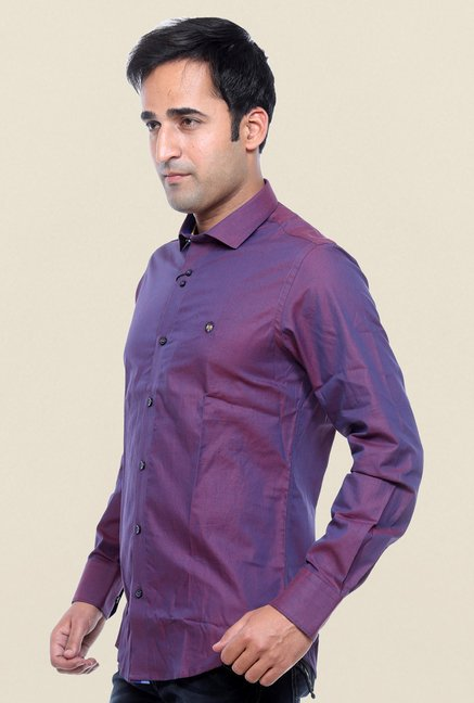 Mufti Wine Solid Shirt