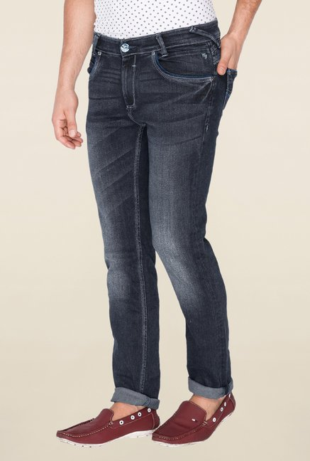 Mufti Dark Grey Acid Wash Jeans