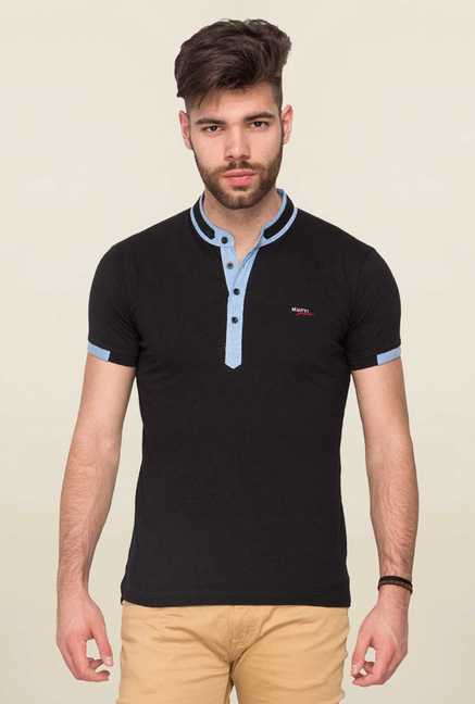 Mufti Black Solid T Shirt