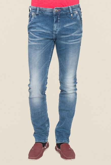 Mufti Blue Low Rise Washed Jeans