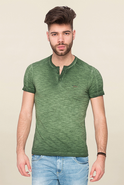 Mufti Green Textured T Shirt