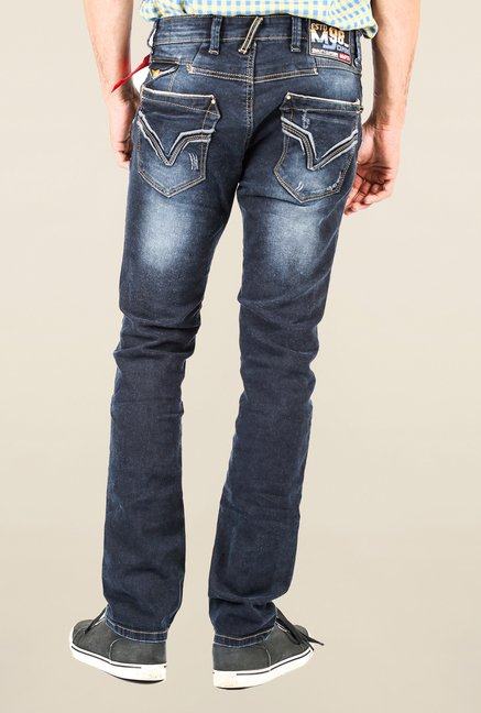 Mufti Navy Slim Fit Washed Jeans