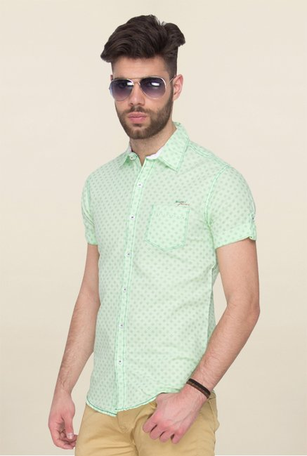 Mufti Green Printed Cotton Shirt