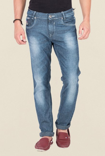 Mufti Blue Slim Fit Washed Denims
