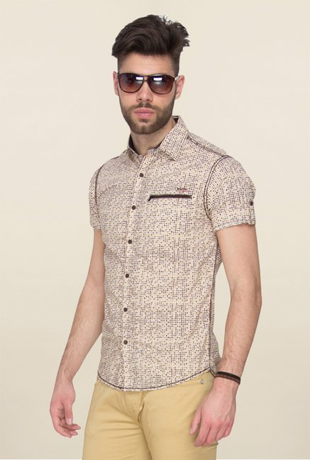 Mufti Beige Printed Slim Fit Shirt