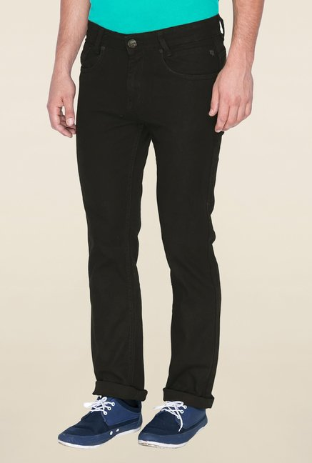 Mufti Black Solid Denim Jeans