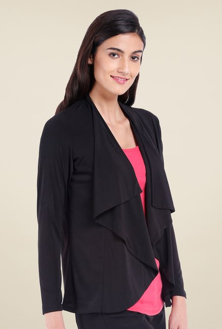 Avirate Black Solid Full Sleeves Shrug