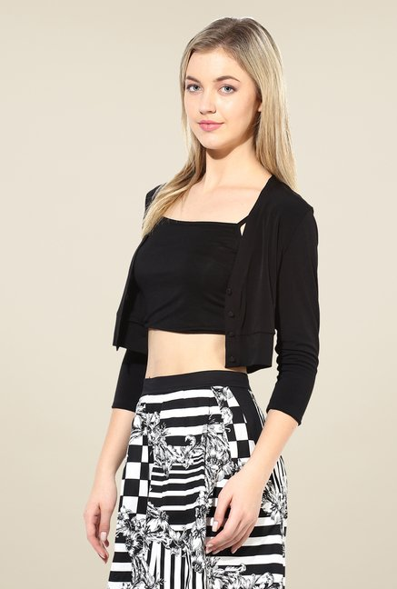 Avirate Black Solid Shrug