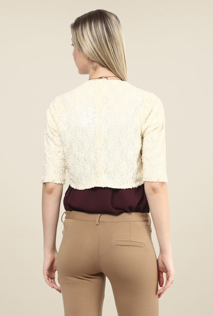 Avirate Beige Embellished Shrug