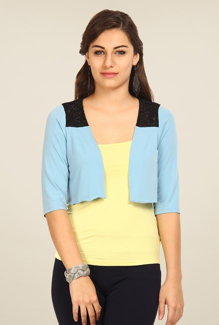 Avirate Blue Solid Shrug
