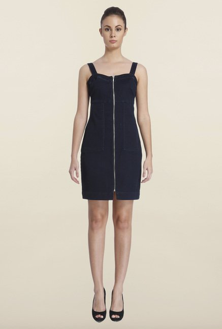 Only Navy Solid Shift Dress