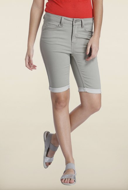 Only Grey Solid Skinny Fit Shorts