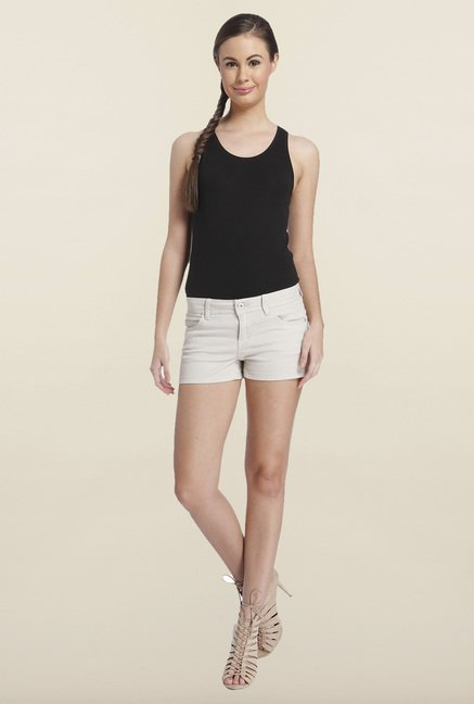 Only Beige Solid Regular-fit Shorts