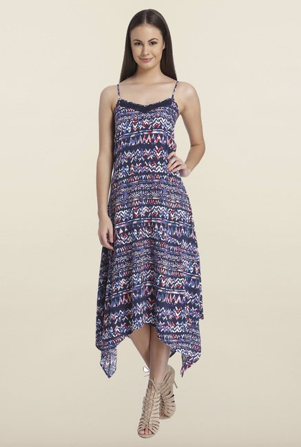 Only Navy Aztec Printed Maxi Dress