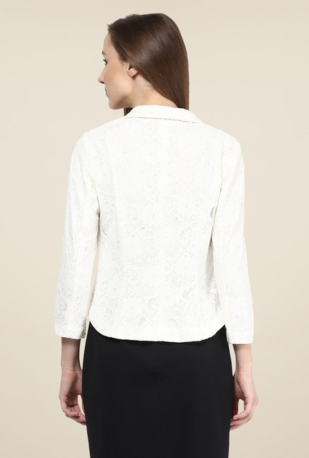 Avirate White Self Printed Jacket