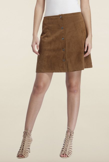Only Brown Solid Mini Skirt