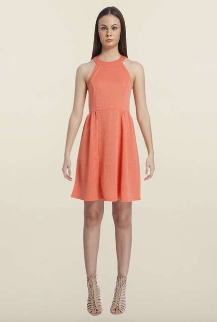 Only Coral Solid Mini Dress