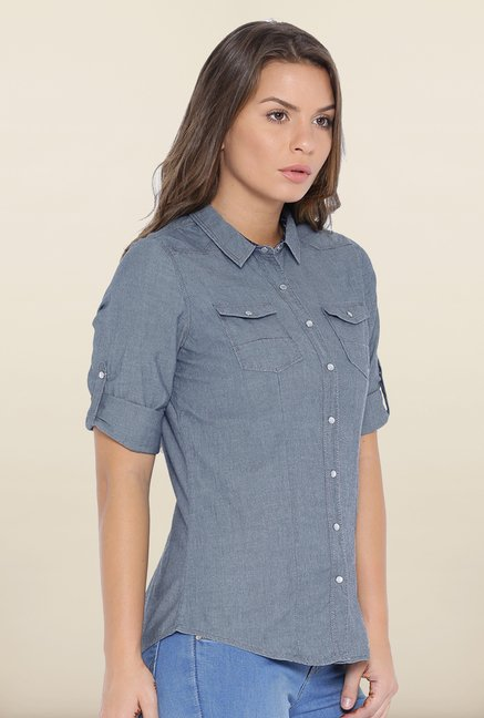 Kraus Grey Button Down Top