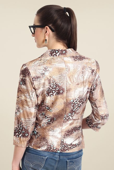 Avirate Brown Animal Print Blazer