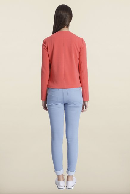 Only Coral Solid Blazer