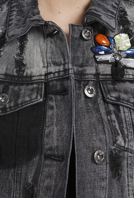 Only Black Solid Denim Jacket