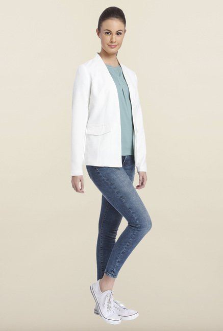 Only White Solid Blazer